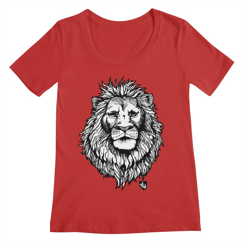 Noble Lion Women's Regular Scoop Neck by Red Rust Rum - Shop
