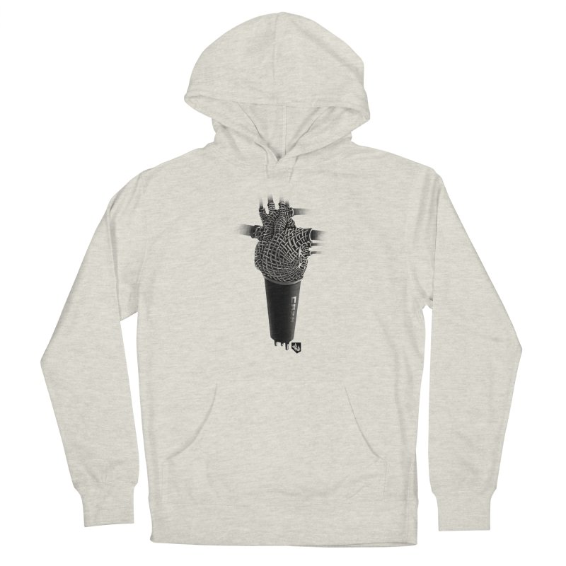 CRZN Dynamic Microphone (Heart Mic) Men's French Terry Pullover Hoody by Red Rust Rum - Shop