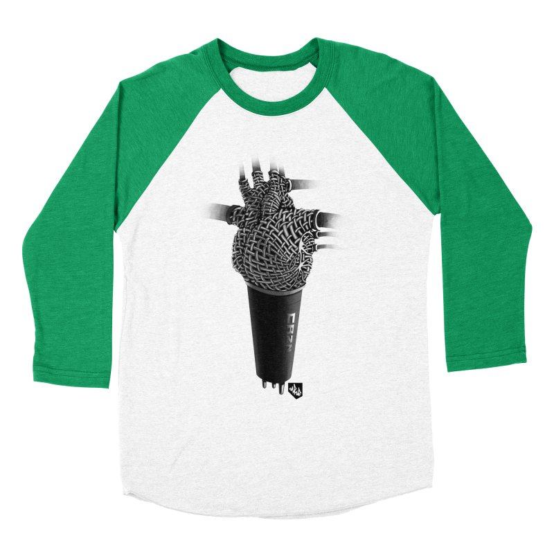 CRZN Dynamic Microphone (Heart Mic) Women's Baseball Triblend T-Shirt by Red Rust Rum - Shop