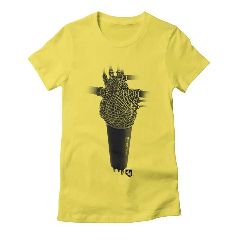 CRZN Dynamic Microphone (Heart Mic) Women's Fitted T-Shirt by Red Rust Rum - Shop