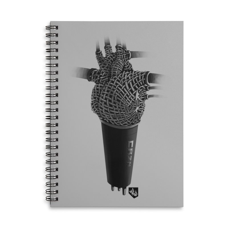 CRZN Dynamic Microphone (Heart Mic) Accessories Lined Spiral Notebook by Red Rust Rum - Shop