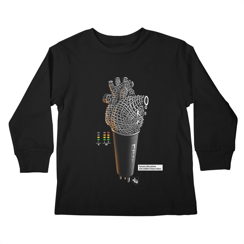 CRZN Dynamic Microphone (Heart Mic) [Color] Kids Longsleeve T-Shirt by Red Rust Rum - Shop