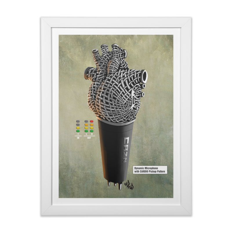 CRZN Dynamic Microphone PRINT in Framed Fine Art Print White by Red Rust Rum - Shop