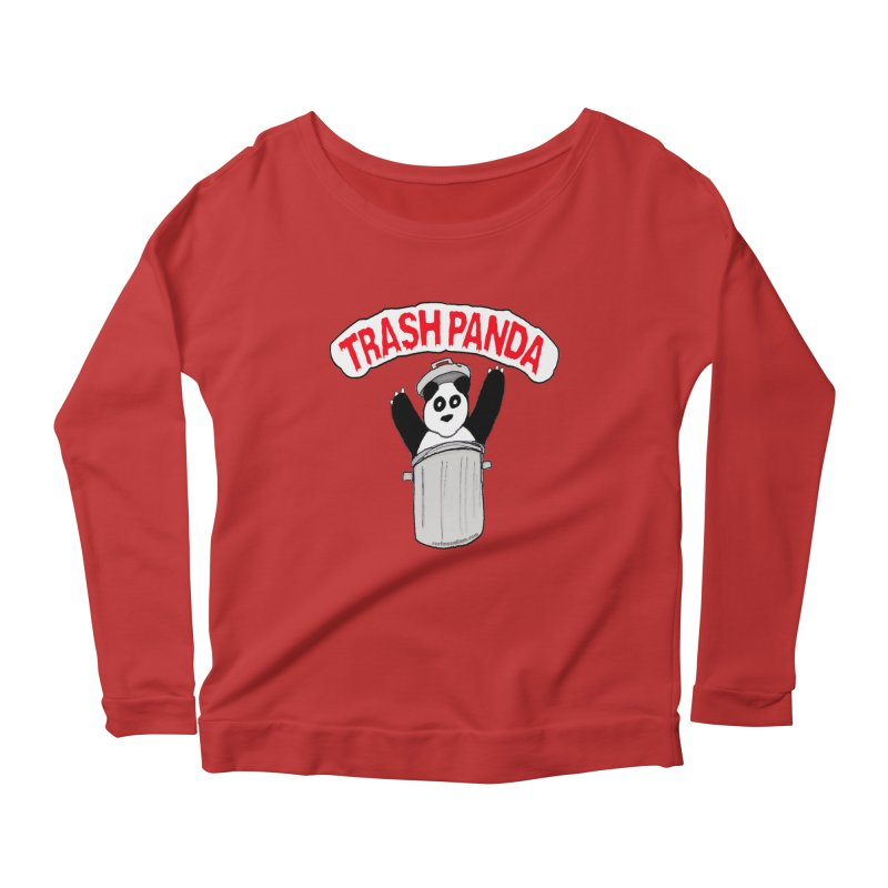 Trash Panda Women's Longsleeve Scoopneck  by Reef Musallam's Artist Shop