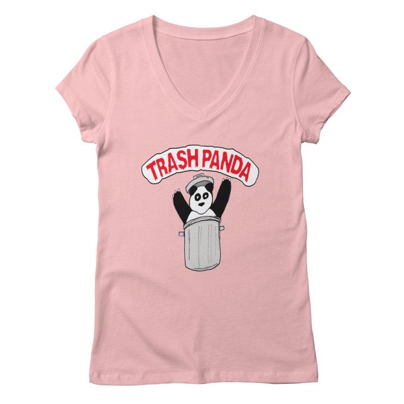 Trash Panda Women's Regular V-Neck by Reef Musallam's Artist Shop