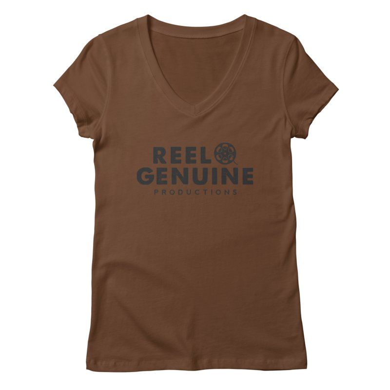 Reel Genuine Productions Logo Women's Regular V-Neck by reelgenuine's Artist Shop