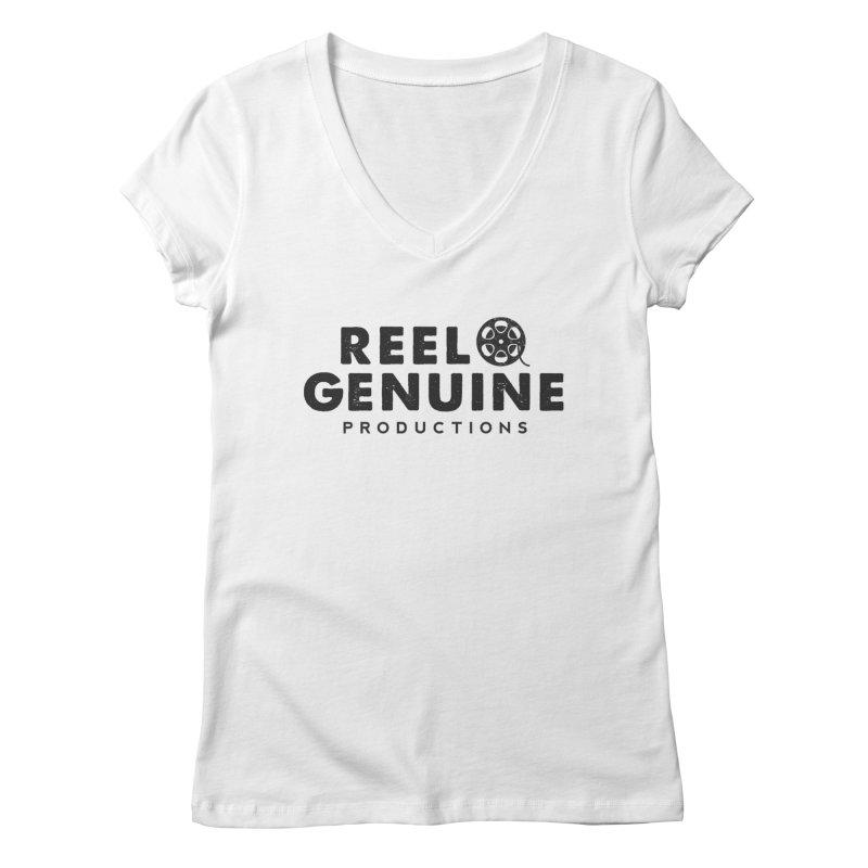 Reel Genuine Productions Logo Women's V-Neck by reelgenuine's Artist Shop