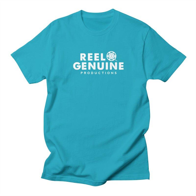 Reel Genuine Logo - White Men's Regular T-Shirt by reelgenuine's Artist Shop