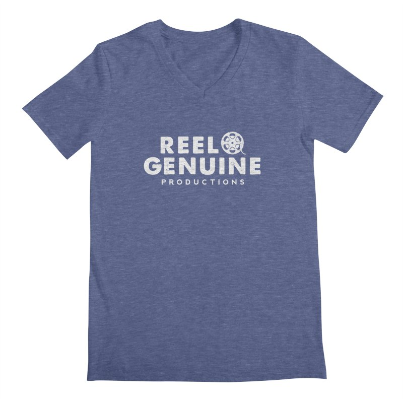 Reel Genuine Logo - White Men's Regular V-Neck by reelgenuine's Artist Shop