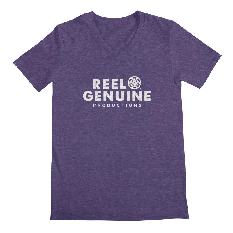Reel Genuine Logo - White Men's Regular V-Neck by reelgenuine's Artist Shop