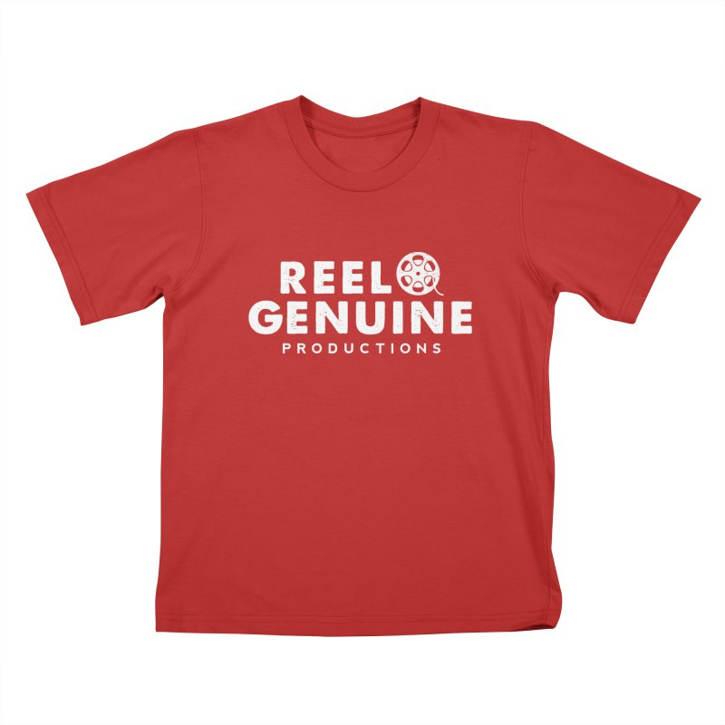 Reel Genuine Logo - White Kids T-shirt by reelgenuine's Artist Shop