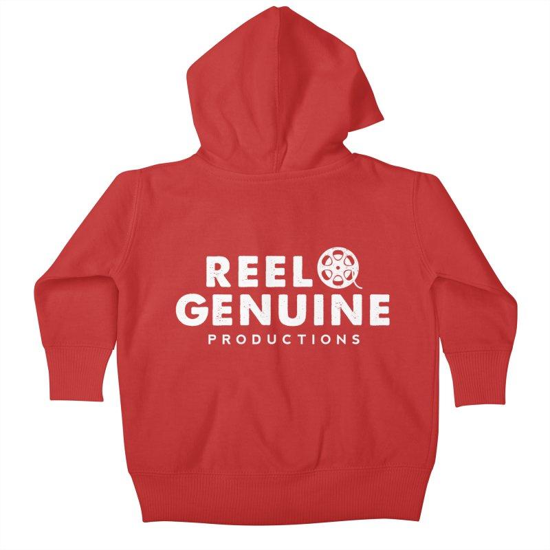 Reel Genuine Logo - White Kids Baby Zip-Up Hoody by reelgenuine's Artist Shop