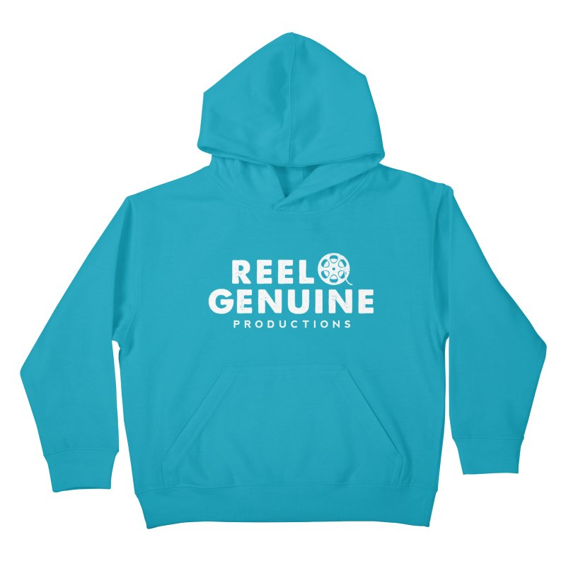Reel Genuine Logo - White Kids Pullover Hoody by reelgenuine's Artist Shop