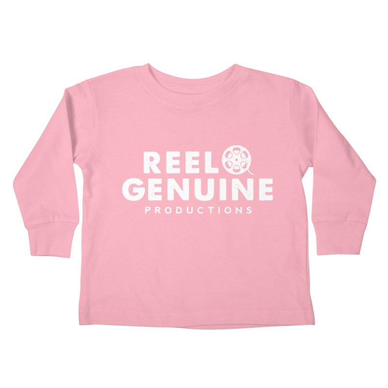 Reel Genuine Logo - White Kids Toddler Longsleeve T-Shirt by reelgenuine's Artist Shop