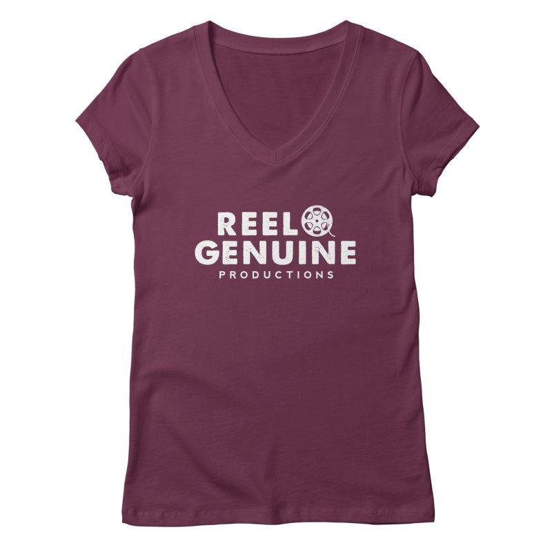 Reel Genuine Logo - White Women's V-Neck by reelgenuine's Artist Shop