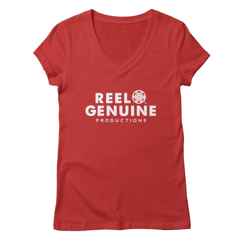 Reel Genuine Logo - White Women's Regular V-Neck by reelgenuine's Artist Shop