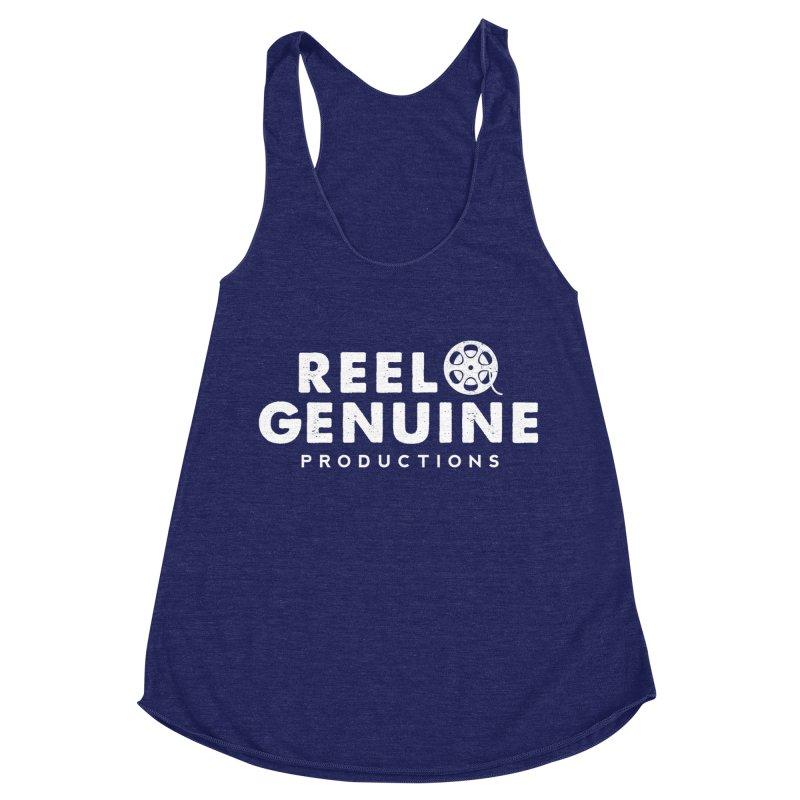 Reel Genuine Logo - White Women's Racerback Triblend Tank by reelgenuine's Artist Shop