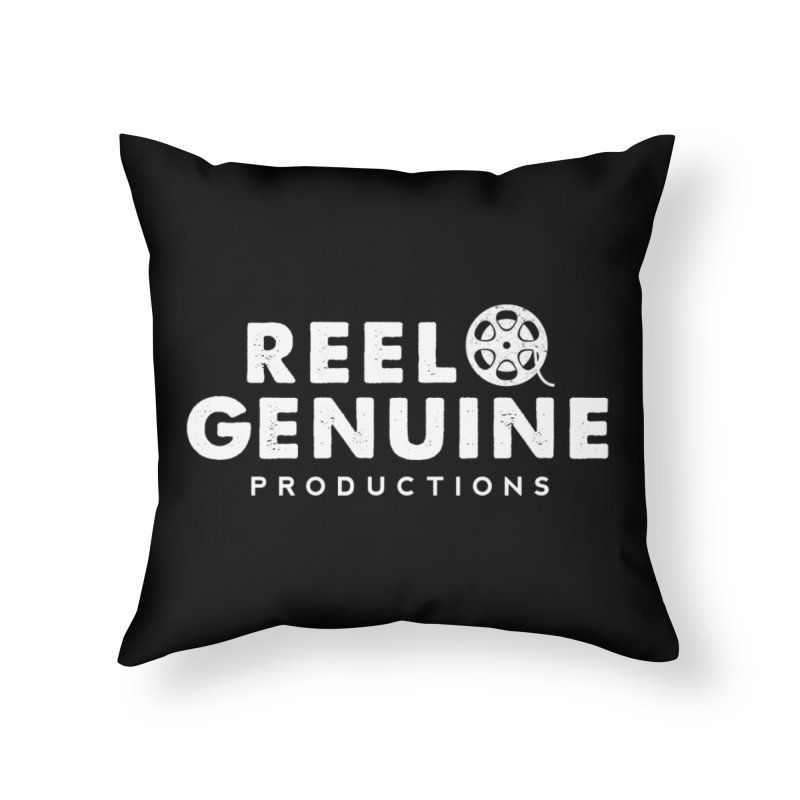 Reel Genuine Logo - White Home Throw Pillow by reelgenuine's Artist Shop