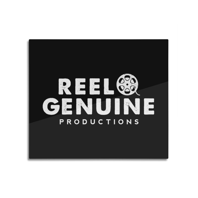 Reel Genuine Logo - White Home Mounted Aluminum Print by reelgenuine's Artist Shop