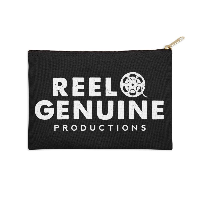 Reel Genuine Logo - White Accessories Zip Pouch by reelgenuine's Artist Shop