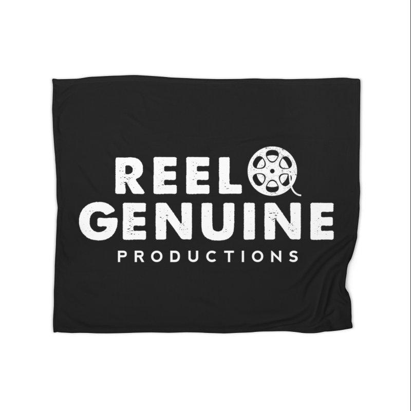 Reel Genuine Logo - White Home Fleece Blanket Blanket by reelgenuine's Artist Shop