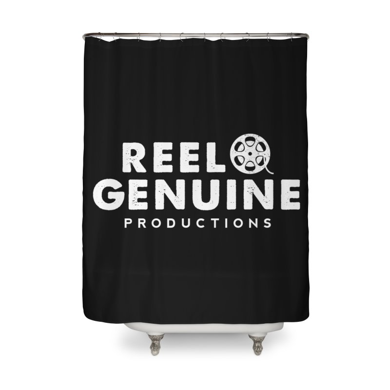 Reel Genuine Logo - White Home Shower Curtain by reelgenuine's Artist Shop