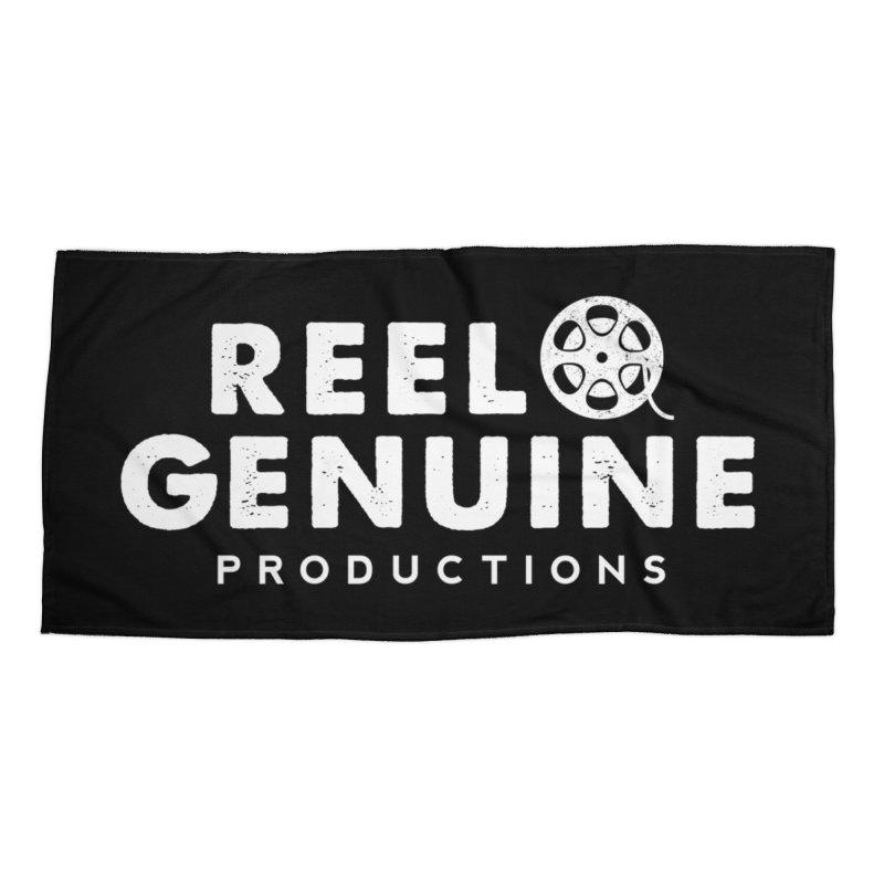 Reel Genuine Logo - White Accessories Beach Towel by reelgenuine's Artist Shop