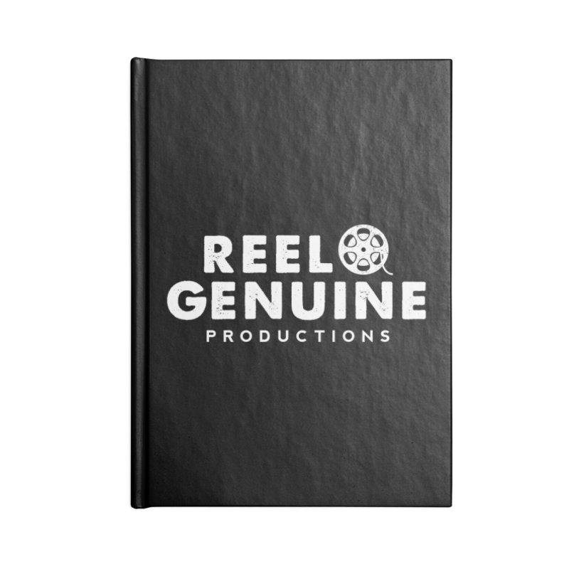Reel Genuine Logo - White Accessories Notebook by reelgenuine's Artist Shop