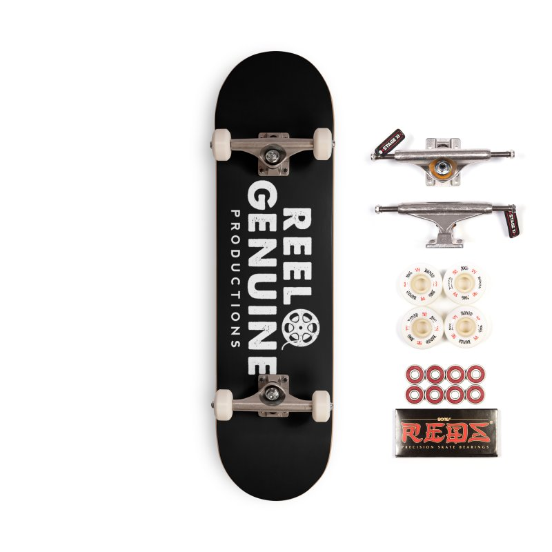 Reel Genuine Logo - White Accessories Complete - Pro Skateboard by reelgenuine's Artist Shop