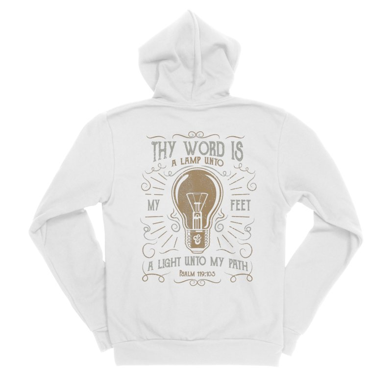 Psalm 119:105 Thy Word is a Lamp Unto My Feet Men's Sponge Fleece Zip-Up Hoody by A Worthy Manner Goods & Clothing