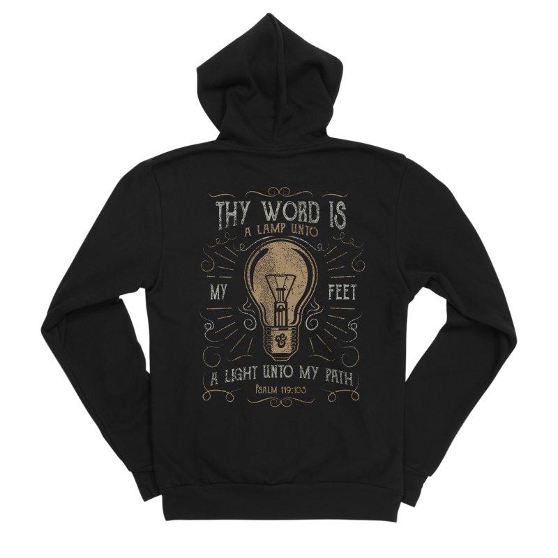 Psalm 119:105 Thy Word is a Lamp Unto My Feet Men's Sponge Fleece Zip-Up Hoody by A Worthy Manner Goods & Clothing
