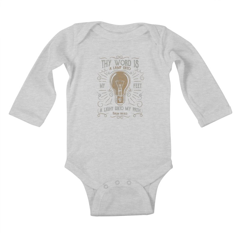 Psalm 119:105 Thy Word is a Lamp Unto My Feet Kids Baby Longsleeve Bodysuit by A Worthy Manner Goods & Clothing