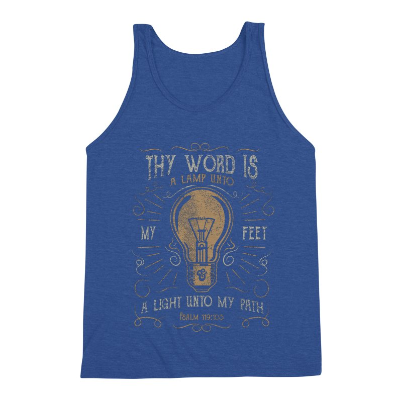 Psalm 119:105 Thy Word is a Lamp Unto My Feet Men's Triblend Tank by A Worthy Manner Goods & Clothing
