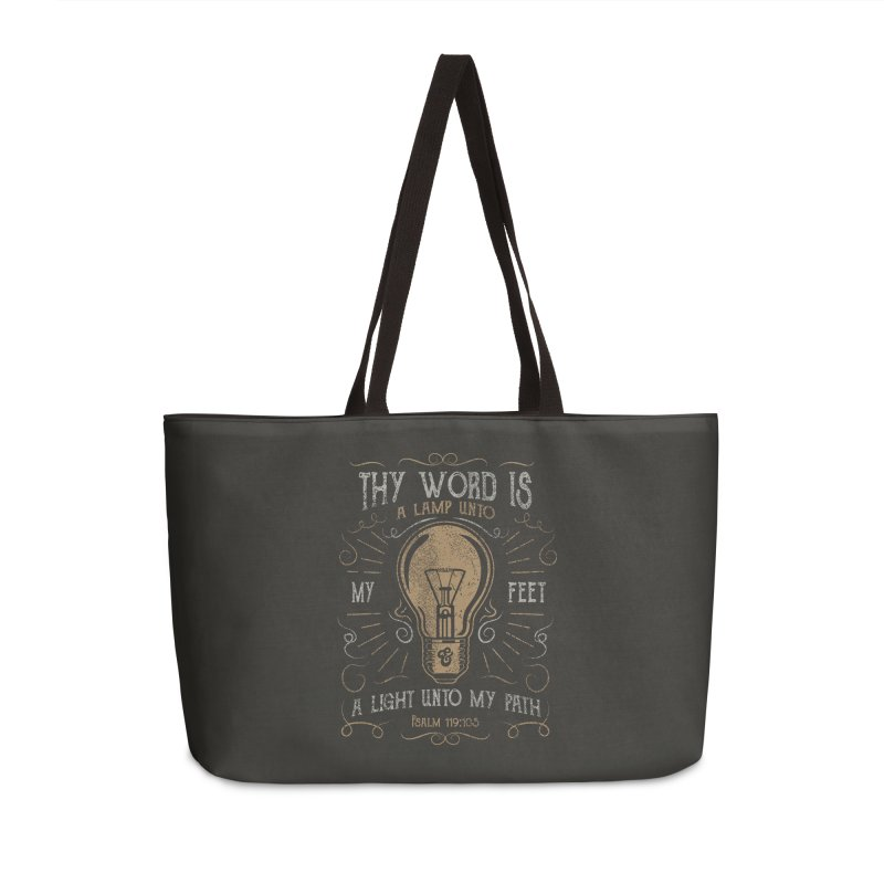 Psalm 119:105 Thy Word is a Lamp Unto My Feet Accessories Weekender Bag Bag by A Worthy Manner Goods & Clothing