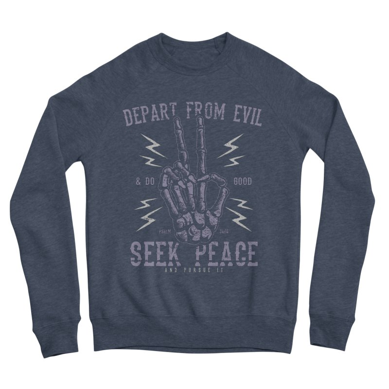 Depart from Evil | Psalm 34:14 Men's Sponge Fleece Sweatshirt by A Worthy Manner Goods & Clothing