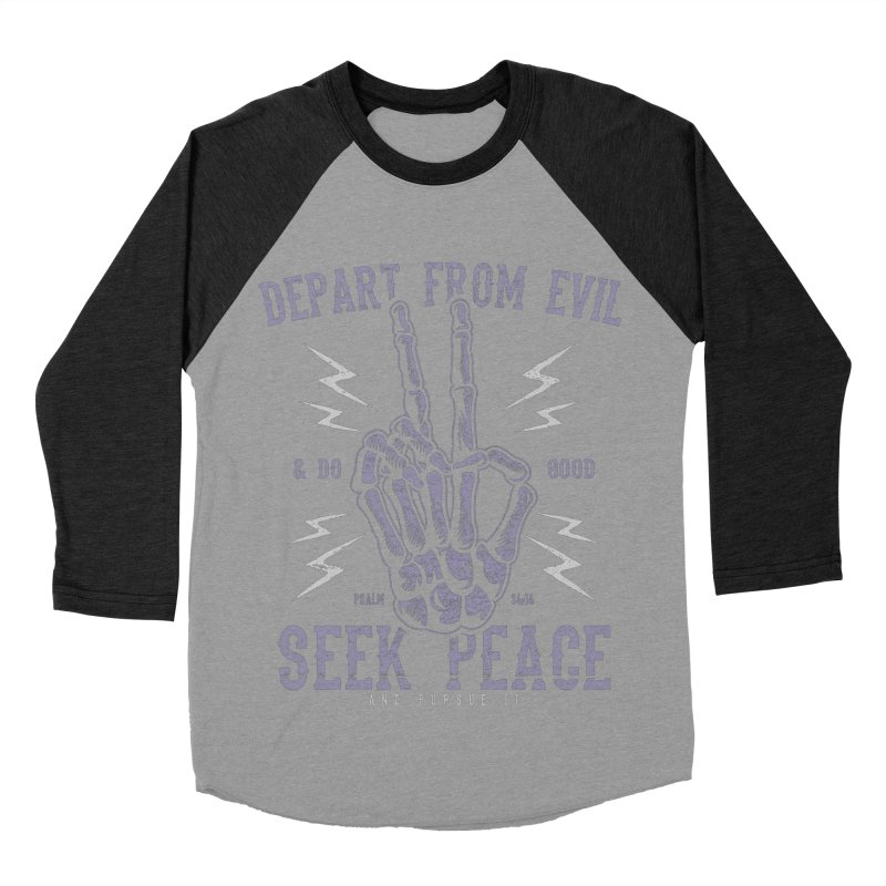 Depart from Evil | Psalm 34:14 Men's Baseball Triblend Longsleeve T-Shirt by A Worthy Manner Goods & Clothing