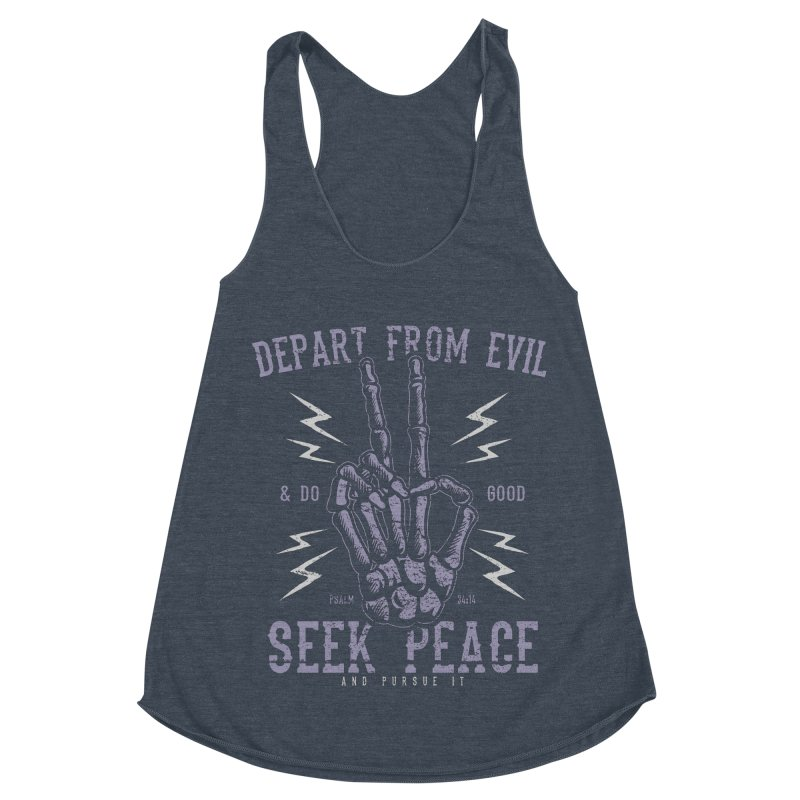 Depart from Evil | Psalm 34:14 Women's Racerback Triblend Tank by A Worthy Manner Goods & Clothing