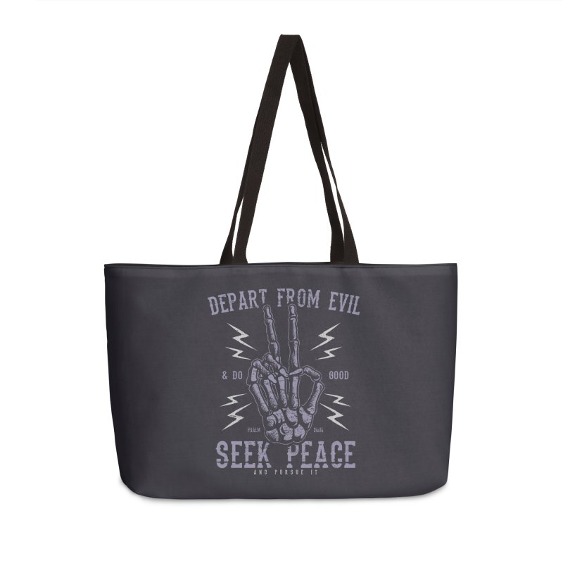 Depart from Evil | Psalm 34:14 Accessories Weekender Bag Bag by A Worthy Manner Goods & Clothing