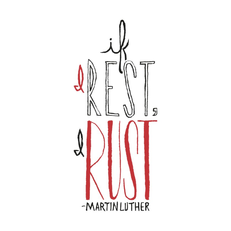 If I Rest, I Rust Men's Baseball Triblend T-Shirt by Reformed Christian Goods & Clothing