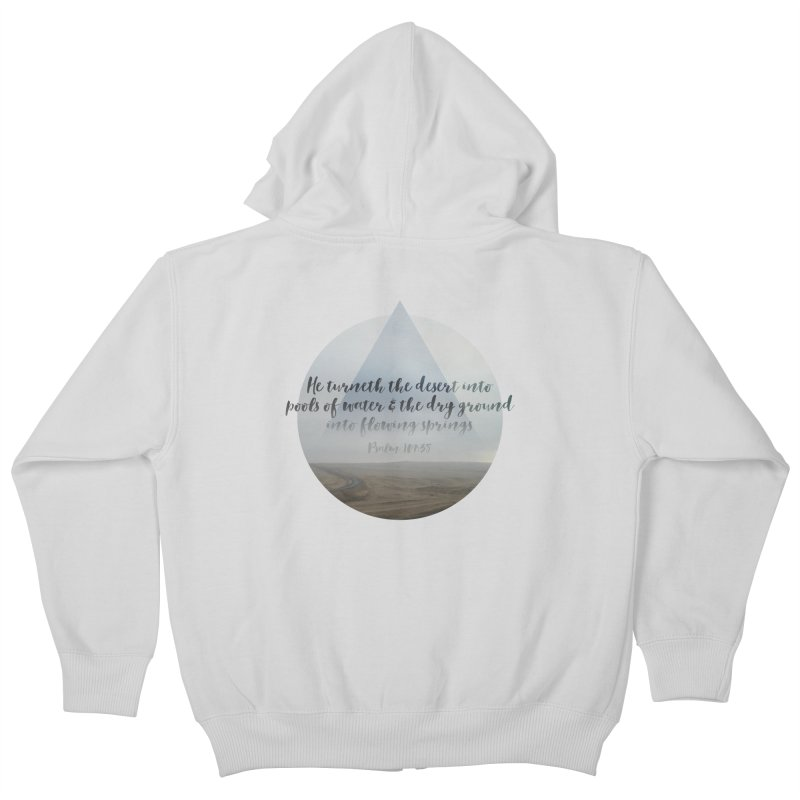 Desert and Dry Ground (Psalm 107:35) in Kids Zip-Up Hoody Heather Grey by Reformed Christian Goods & Clothing