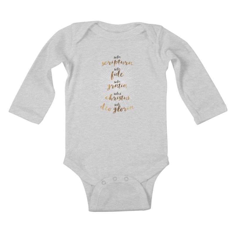 The Five Solas of the Reformation Kids Baby Longsleeve Bodysuit by Reformed Christian Goods & Clothing
