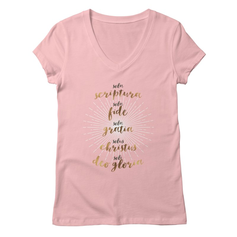 The Five Solas of the Reformation Women's V-Neck by Reformed Christian Goods & Clothing
