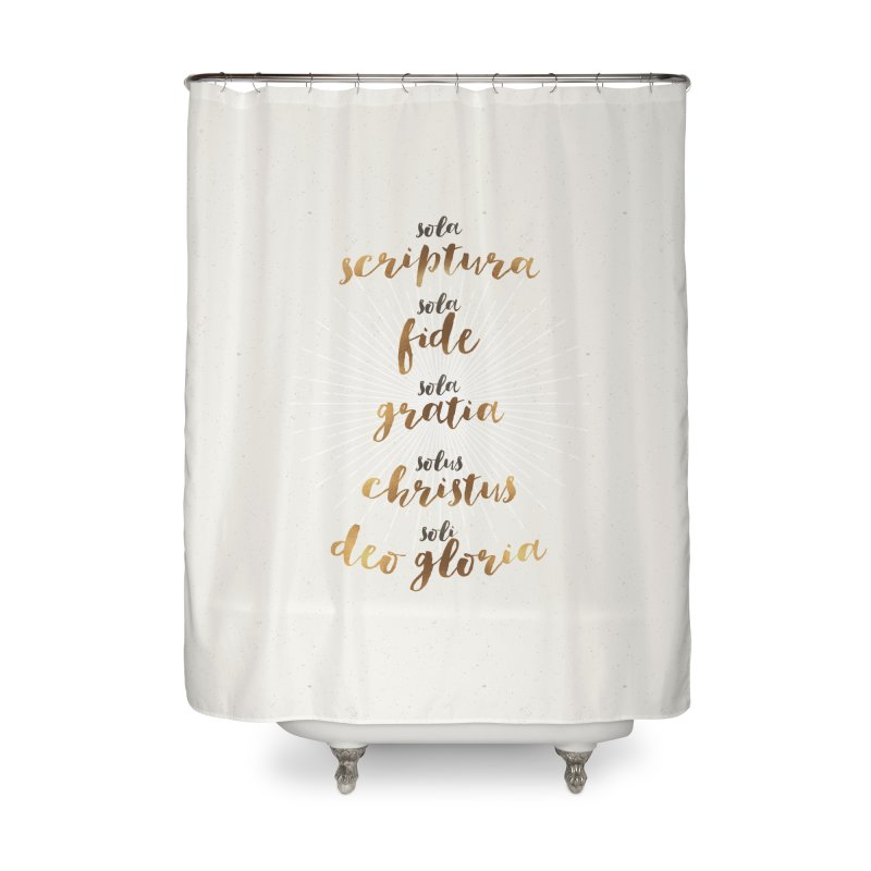 The Five Solas of the Reformation Home Shower Curtain by Reformed Christian Goods & Clothing