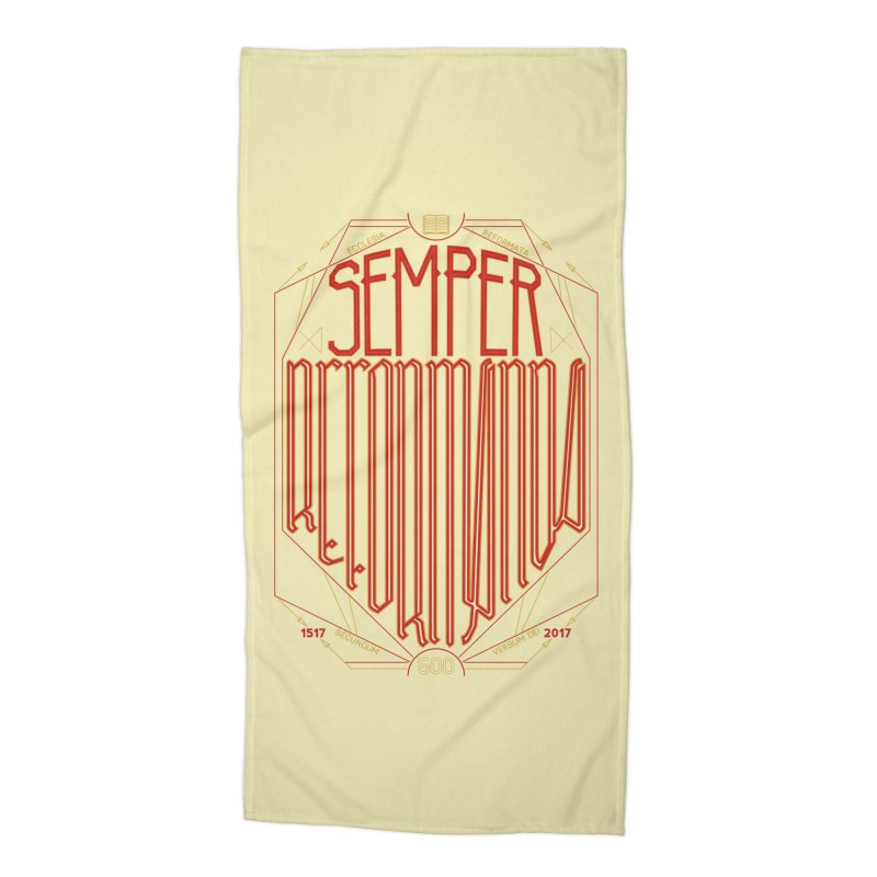 Semper Reformanda: Celebrating the 500th Anniversary of the Protestant Reformation Accessories Beach Towel by Reformed Christian Goods & Clothing