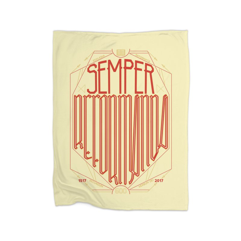 Semper Reformanda: Celebrating the 500th Anniversary of the Protestant Reformation Home Fleece Blanket by Reformed Christian Goods & Clothing