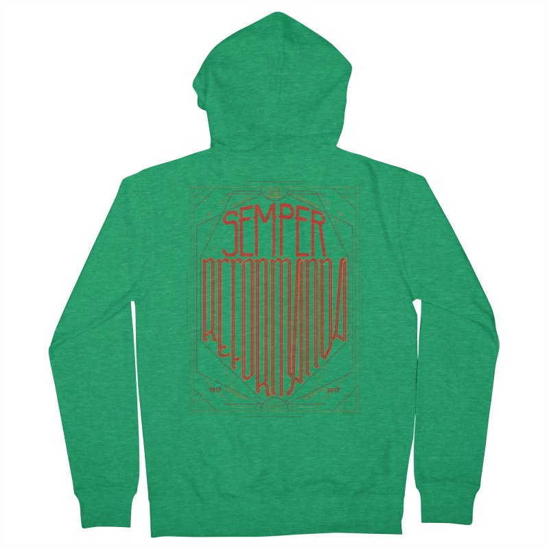 Semper Reformanda: Celebrating the 500th Anniversary of the Protestant Reformation Men's Zip-Up Hoody by Reformed Christian Goods & Clothing