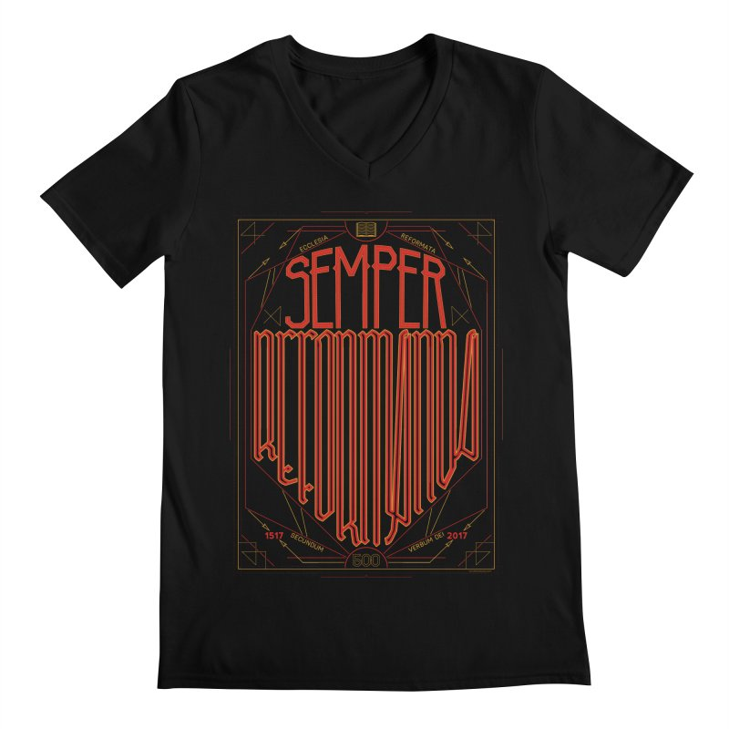 Semper Reformanda: Celebrating the 500th Anniversary of the Protestant Reformation Men's V-Neck by Reformed Christian Goods & Clothing