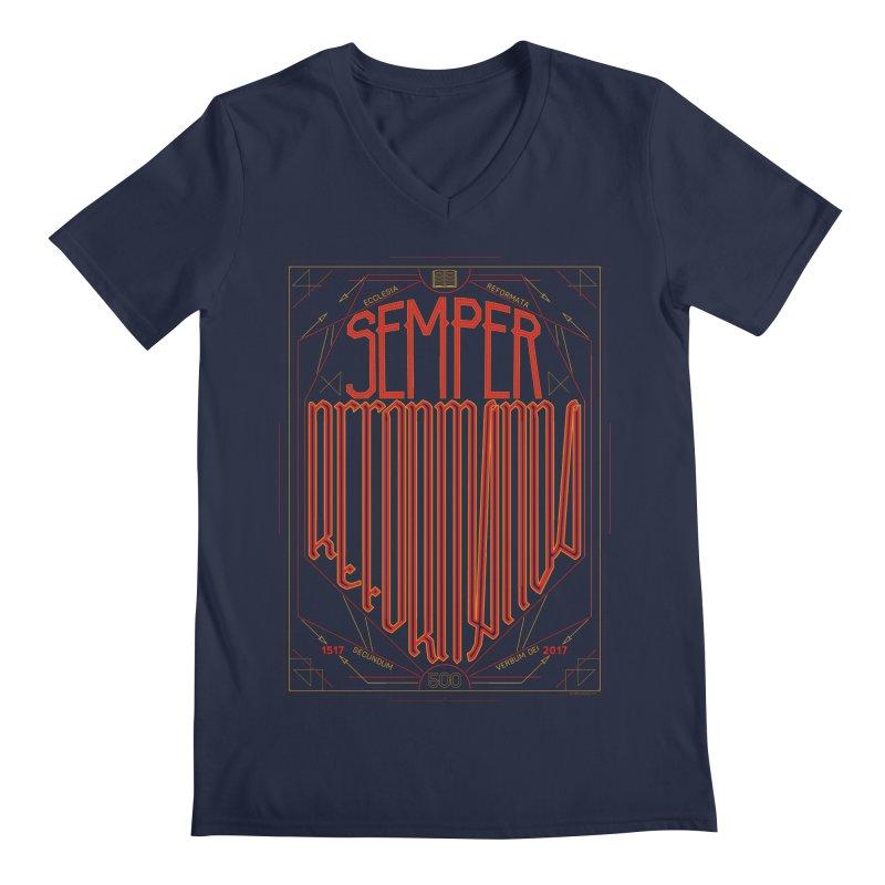 Semper Reformanda: Celebrating the 500th Anniversary of the Protestant Reformation Men's V-Neck by Reformed Christian Goods & Clothing