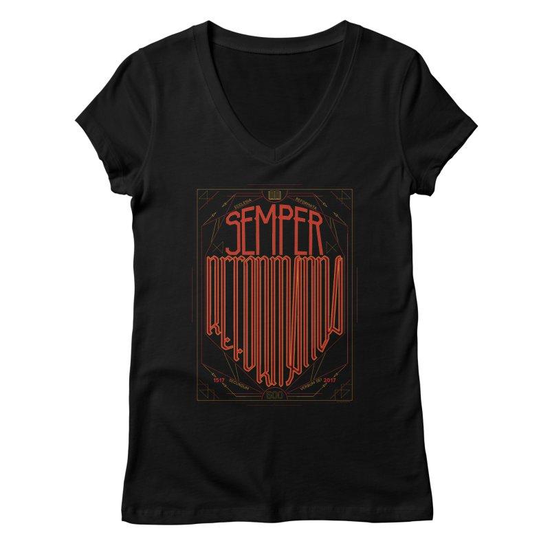 Semper Reformanda: Celebrating the 500th Anniversary of the Protestant Reformation Women's V-Neck by Reformed Christian Goods & Clothing