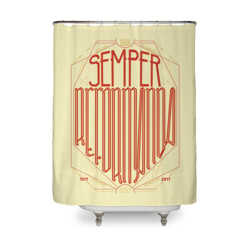 Semper Reformanda: Celebrating the 500th Anniversary of the Protestant Reformation Home Shower Curtain by Reformed Christian Goods & Clothing